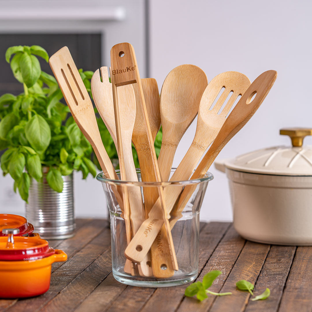 COLORCOWRY Bamboo Kitchen Utensils Set with Holder 7 Pieces Spoons /& Spatula Cooking Tools with Toaster Tongs for Nonstick Wok and Cookware