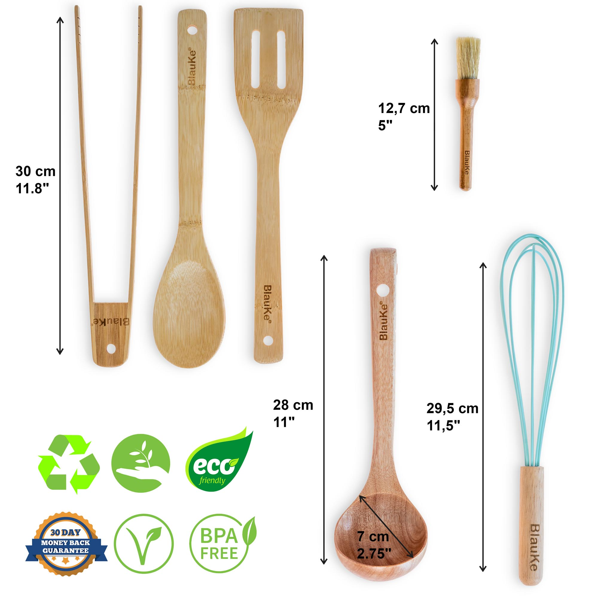 """Wooden Cooking Spoon 30cm 11/"""" Cookware Eco Friendly"""