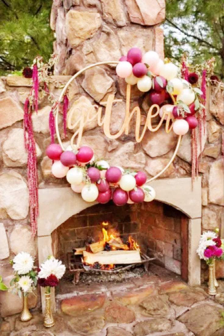 fall time balloon wreath outdoors