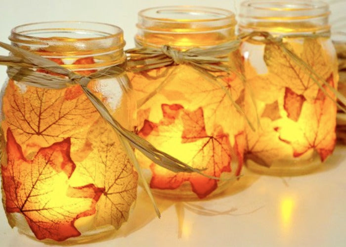 autumn leaf mason jar tutorial