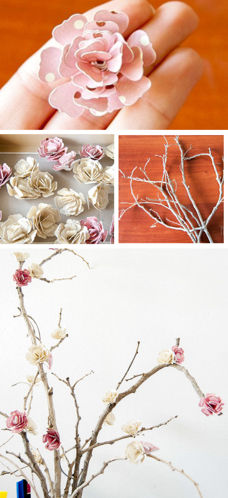 paper flower branch tutorial