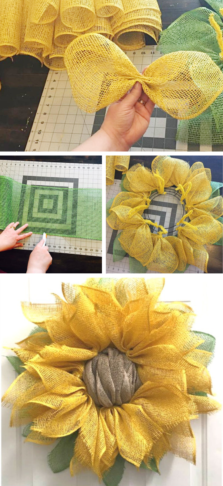burlap sunflower wreath tutorial