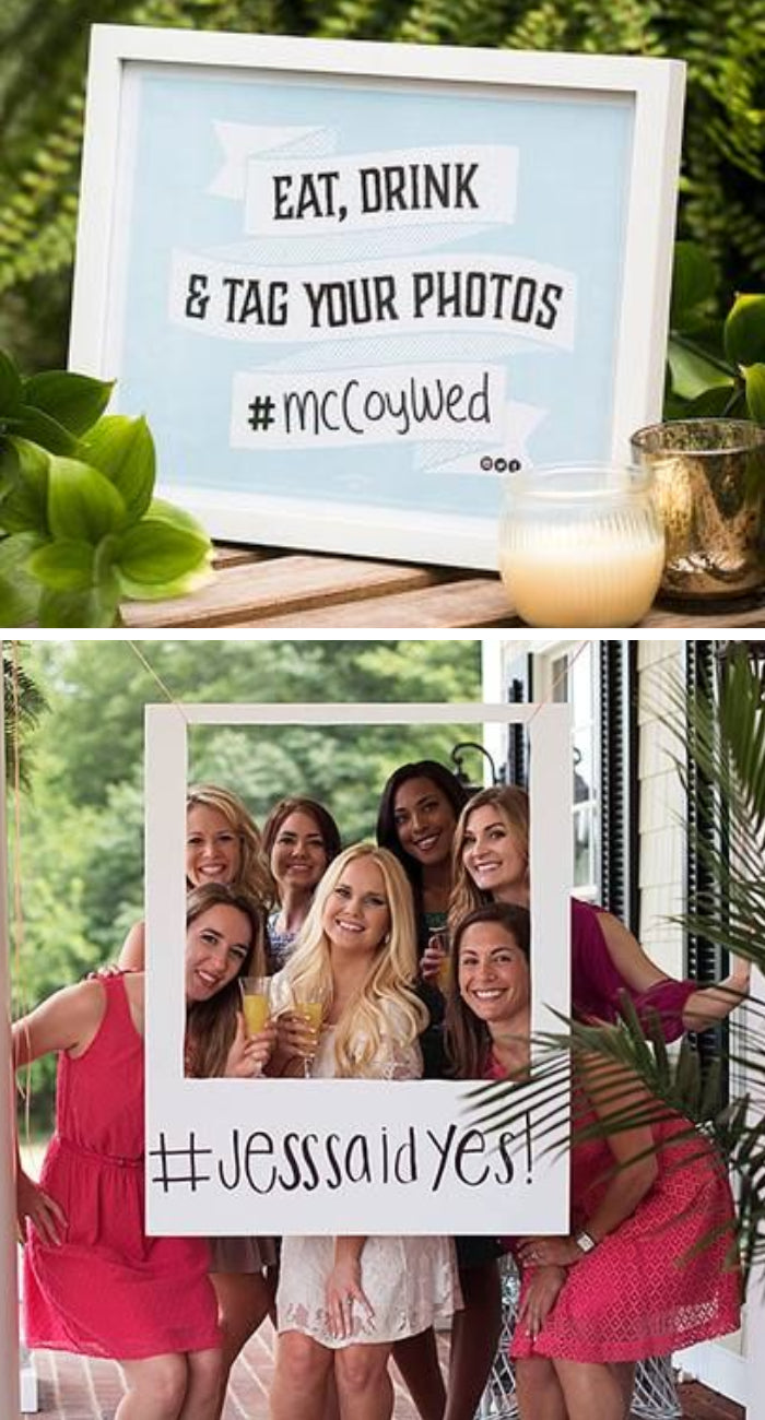 photobooth backdrop create a personal hashtag