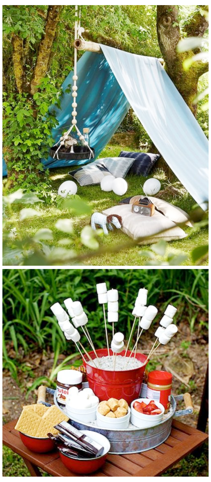 kids summer party backyard camping tent smores outdoor