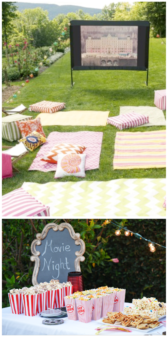 kids summer party ideas movie night outdoors