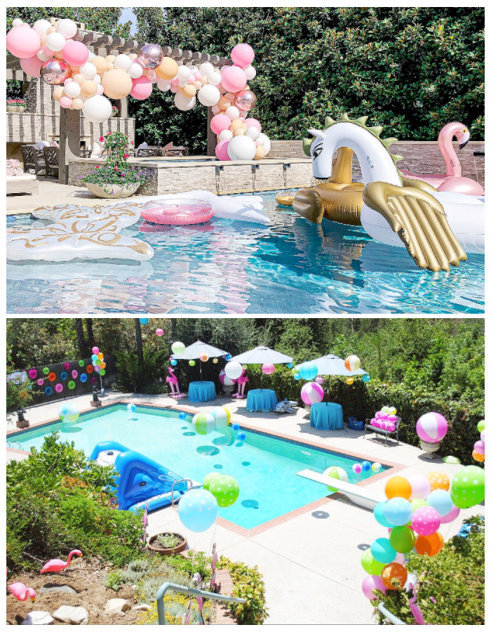 Kids summer party pool party balloons balloon garland arch