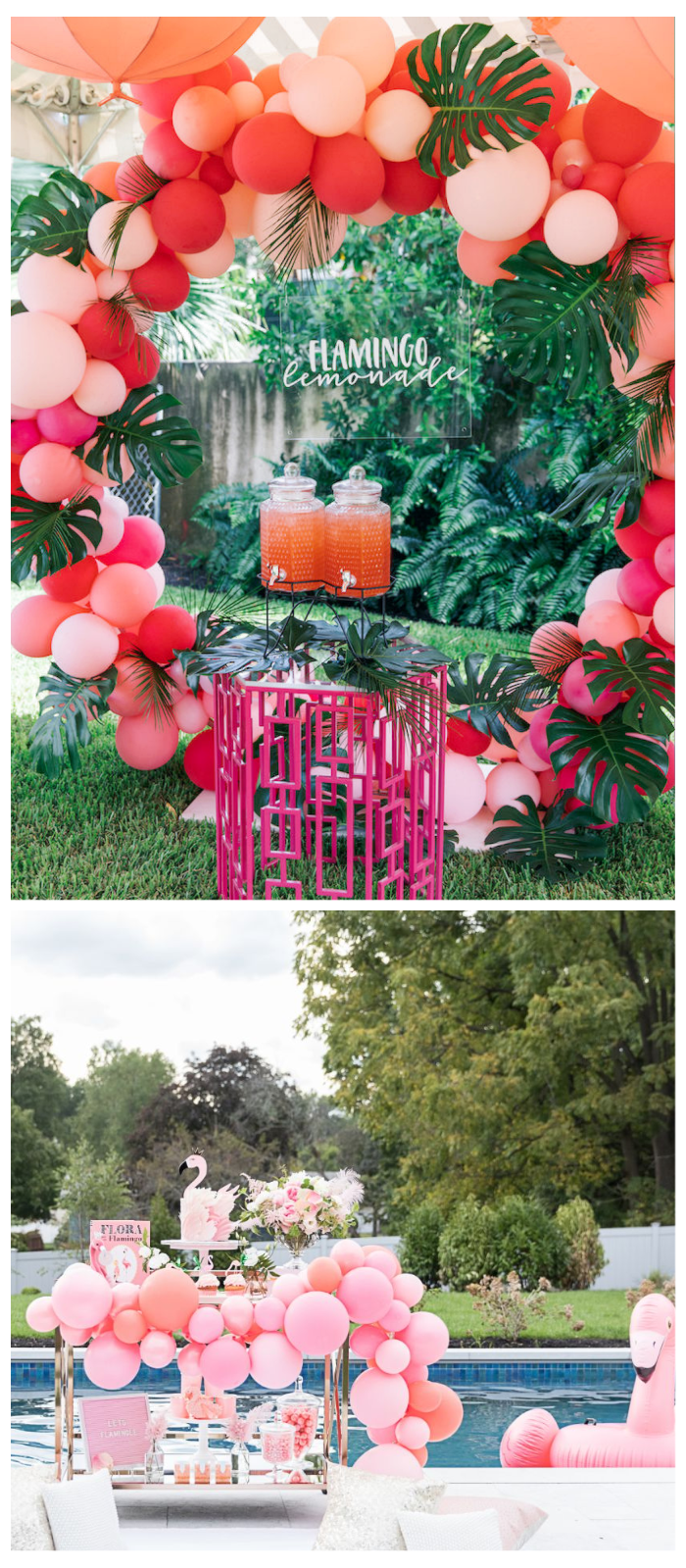 summer party balloon garland pool flamingo theme