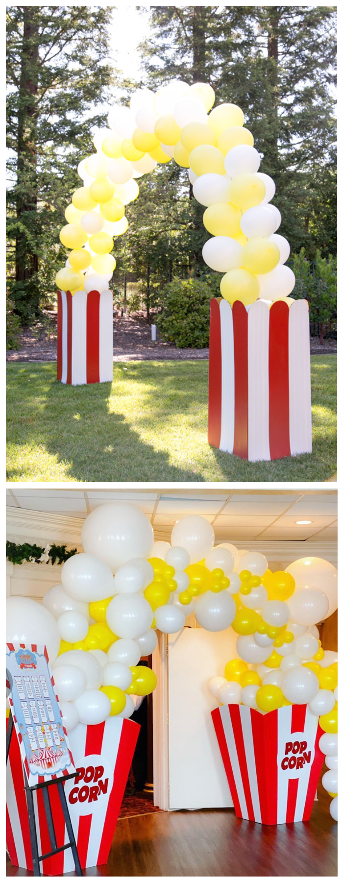 summer party outdoor bbq movie night popcorn balloon arch garland