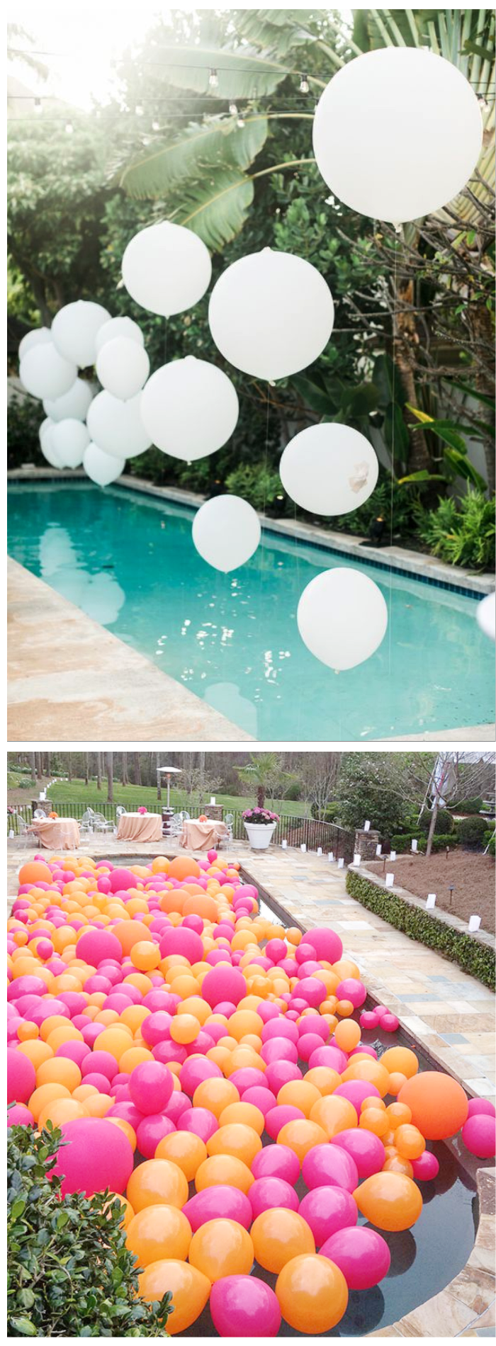 summer party pool balloons decorations