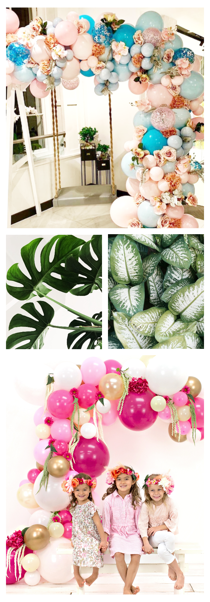 add extras to balloon garland arch greenery tropical leaves flowers