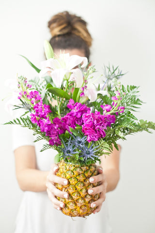 pineapple centerpiece flowers table arrangement