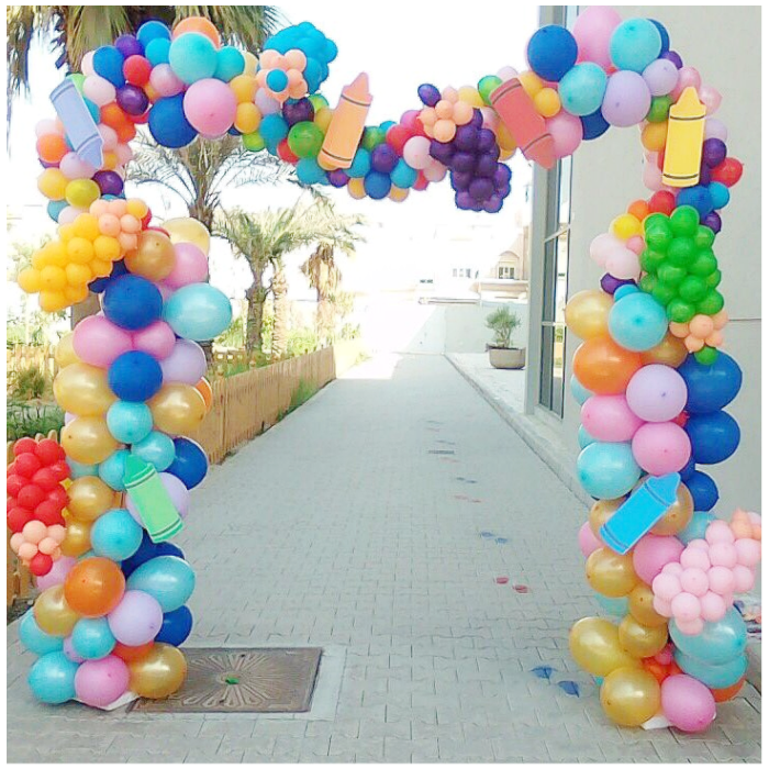 back to school balloon arch garland with crayon school cutouts