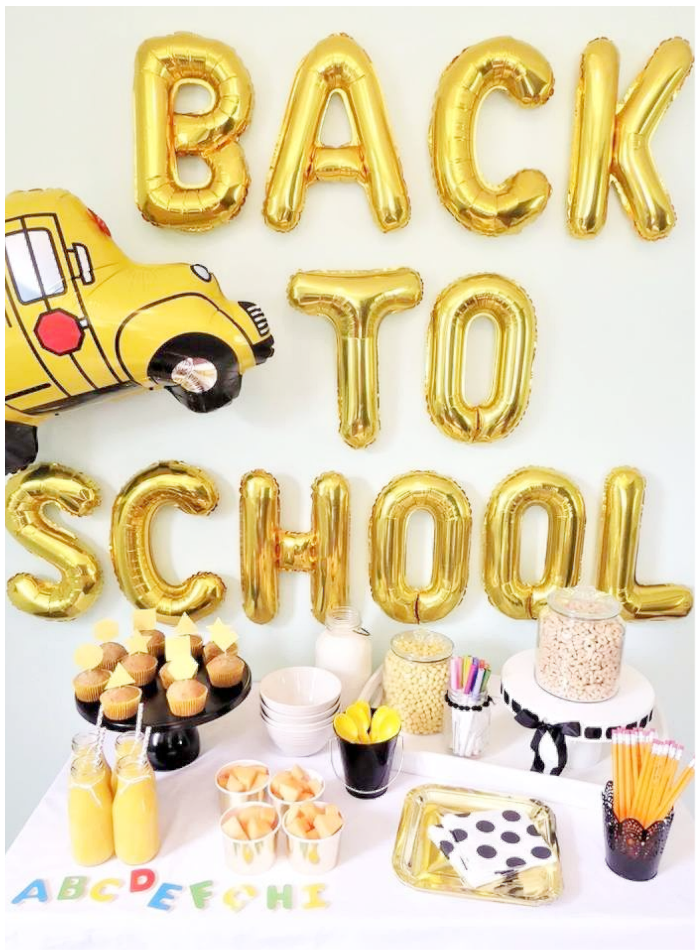 back to school party gold balloons letters