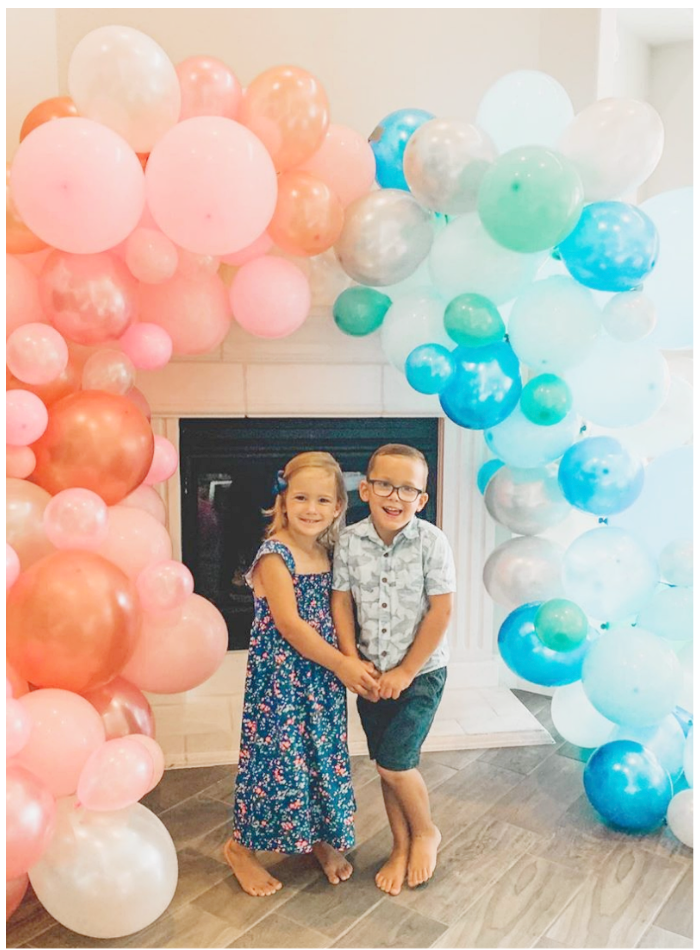 back to school party pink blue balloon arch garland junibel photo