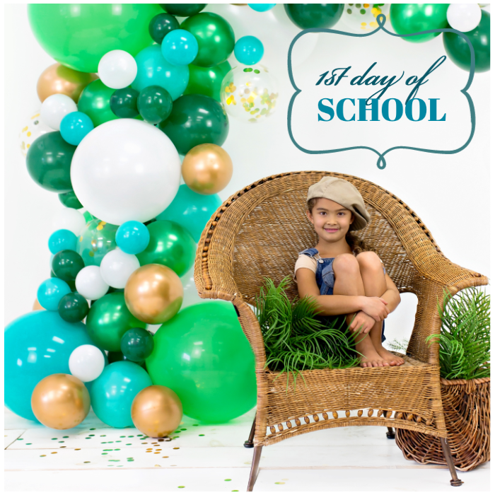 back to school party emerald green balloon arch garland junibel photo