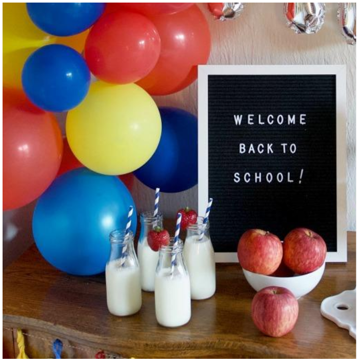 back to school party primary color balloons