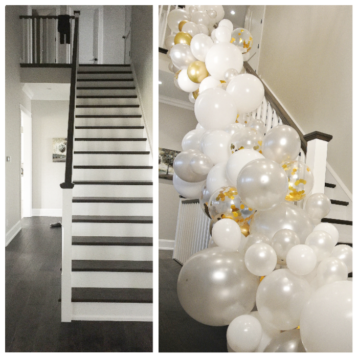 balloon garland arch stairs stairway bannister white gold balloons decorations