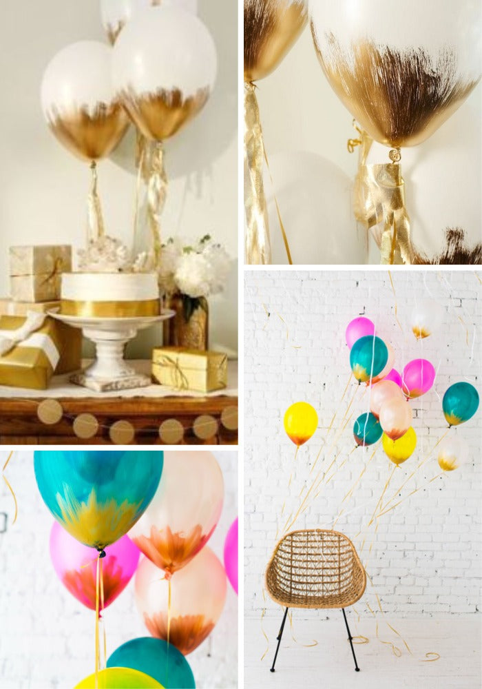 diy balloon decoration painted gold brush colors