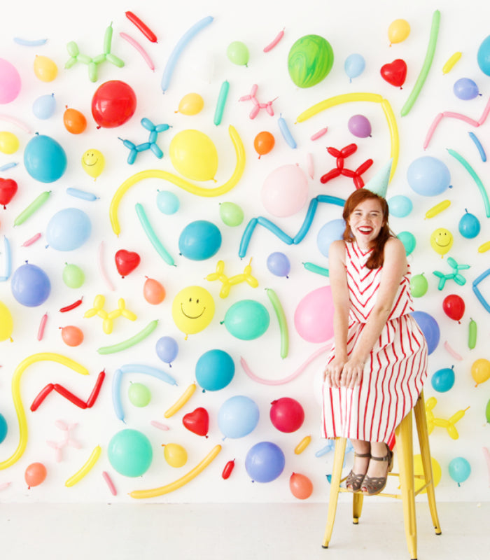 kids party balloon backdrop different colors shapes wall