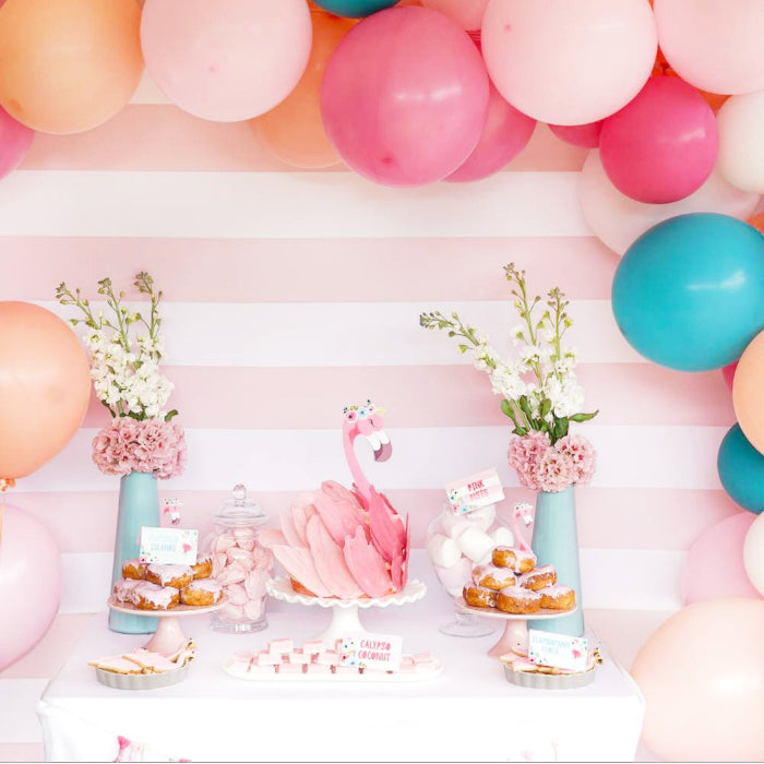 tropical flamingo balloon garland kids party pink blues