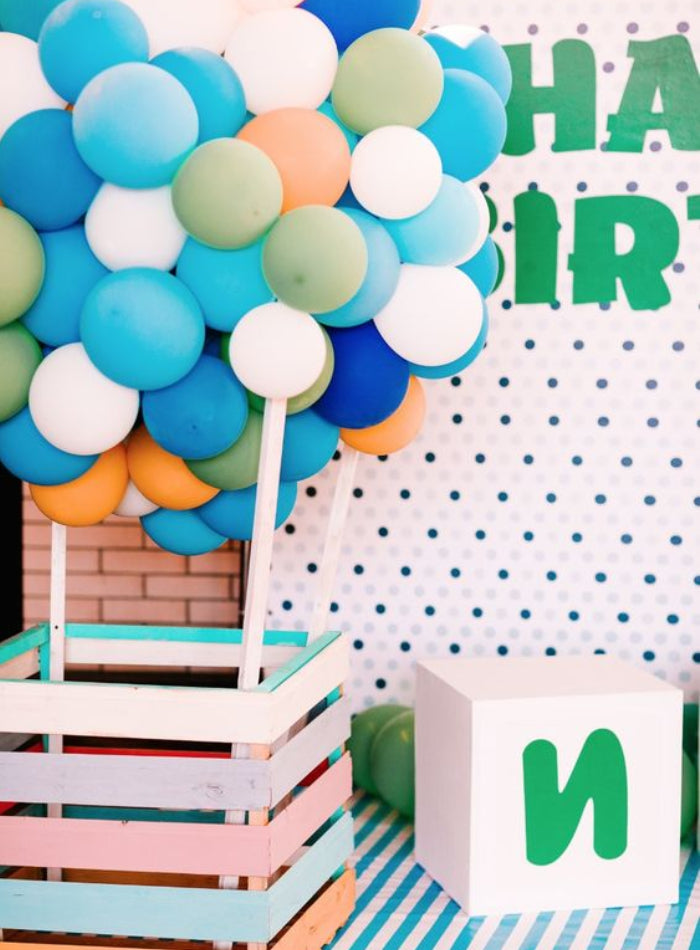 hot air balloon backdrop kids party