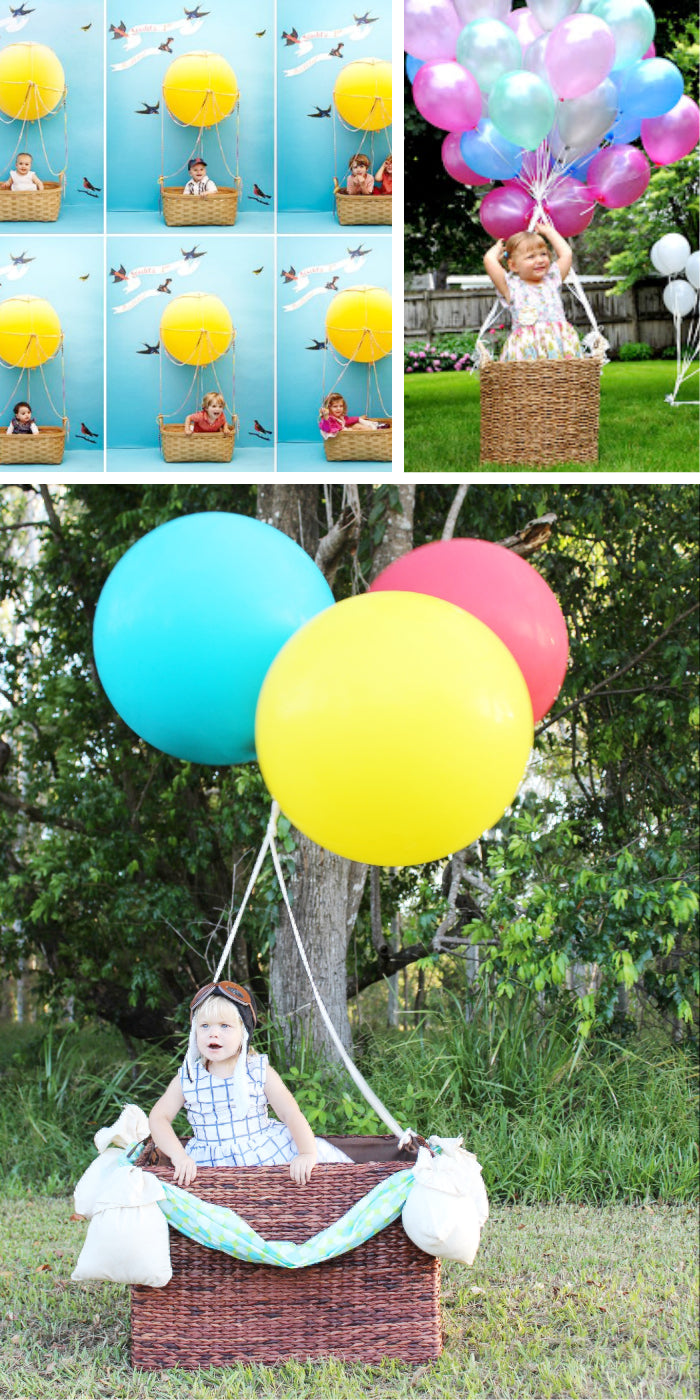 hot air balloon backdrop photo op opportunity kids party