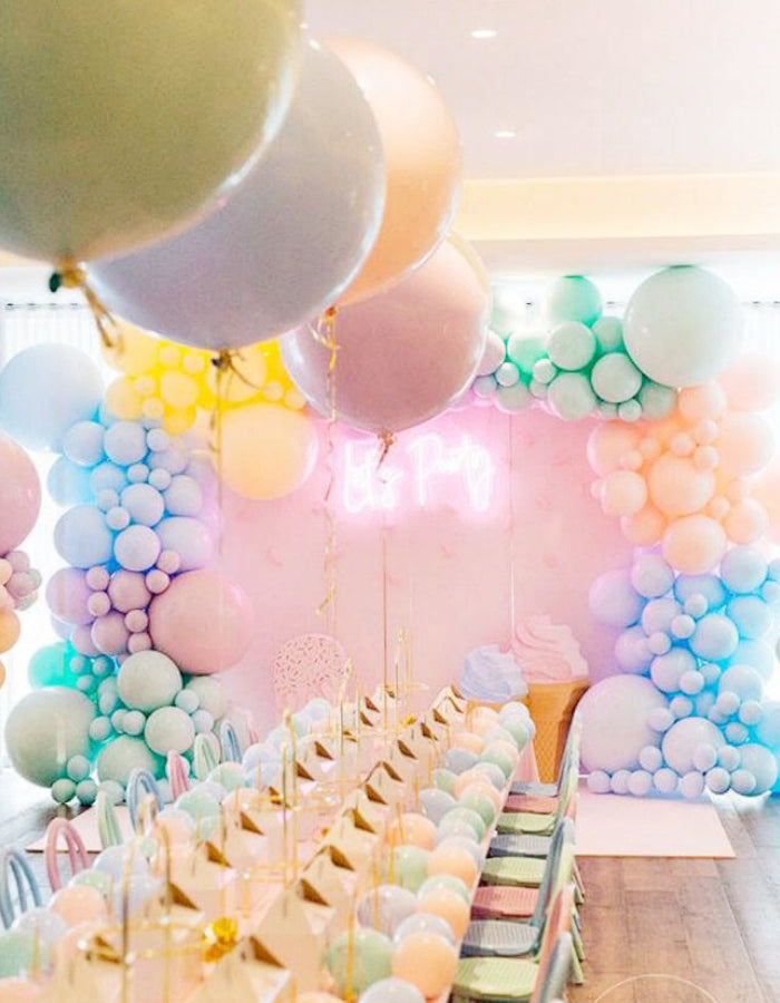ice cream balloon theme backdrop kids party