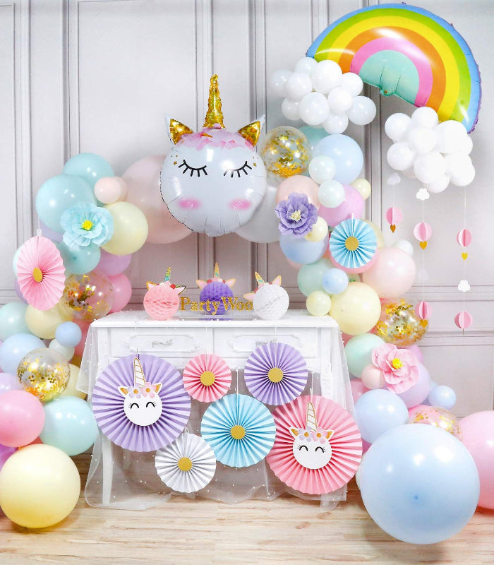 unicorn balloon garland arch kids party rainbows pastel colors