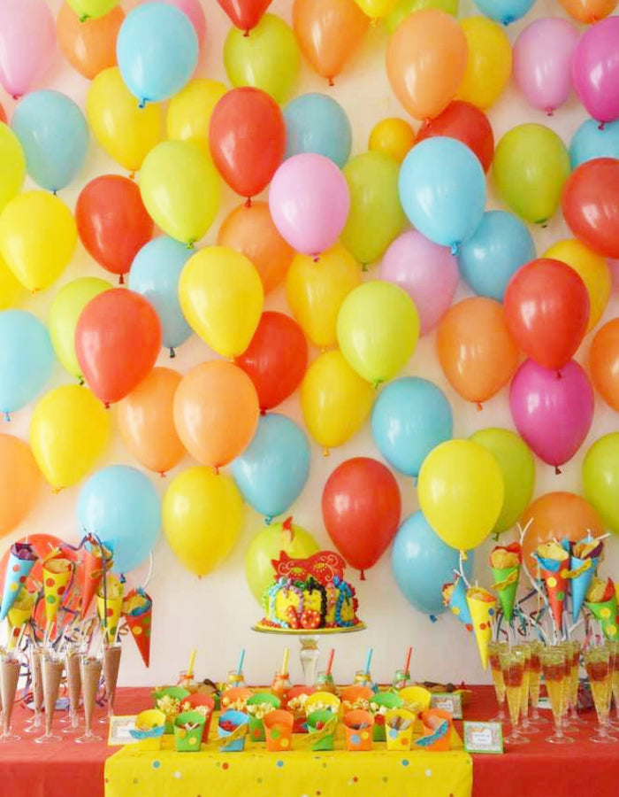 kids party balloon wall backdrop primary colors