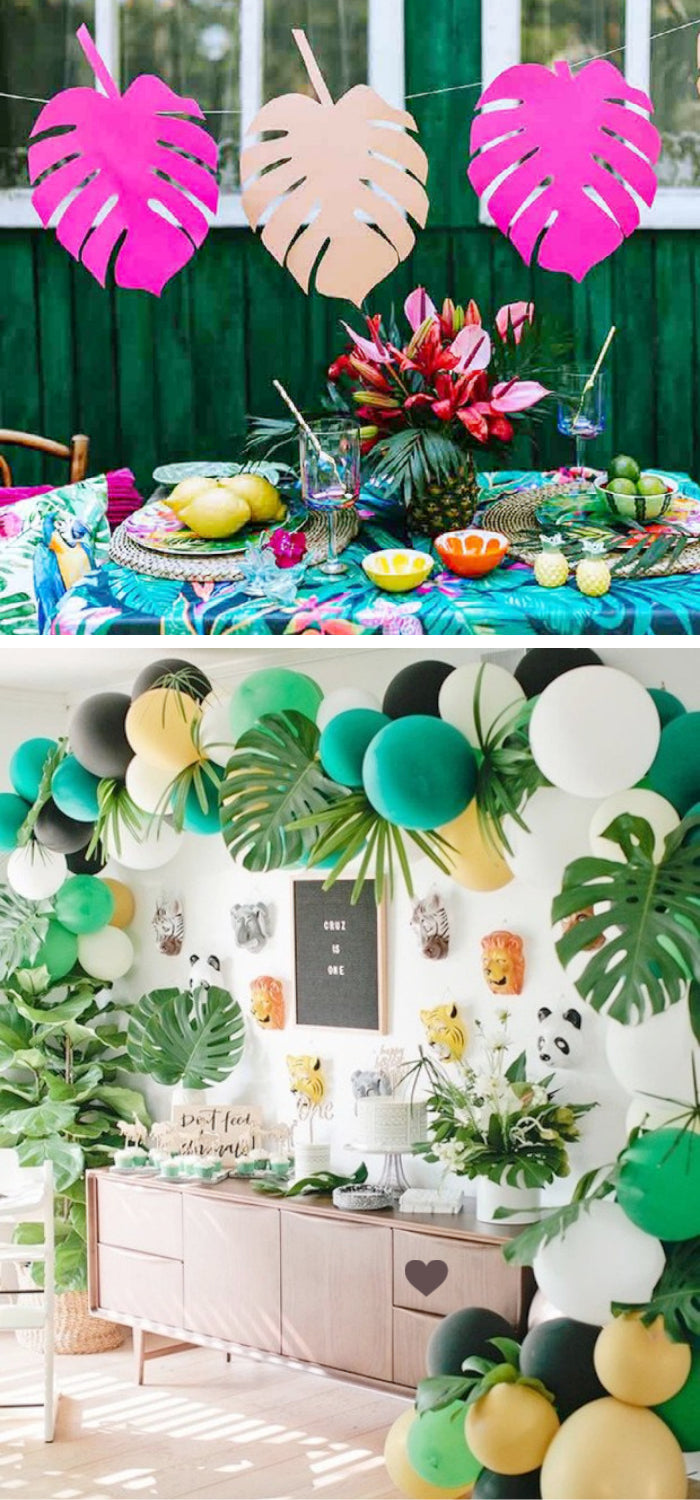 summer garden party tropical leaves balloons