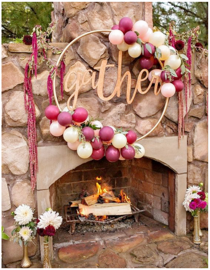 flowers and balloons floral hoop arch garland decoration