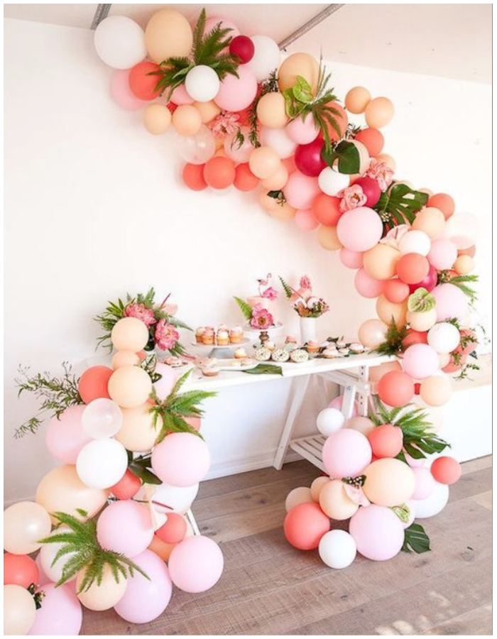 balloons and flowers florals garland arch tropical