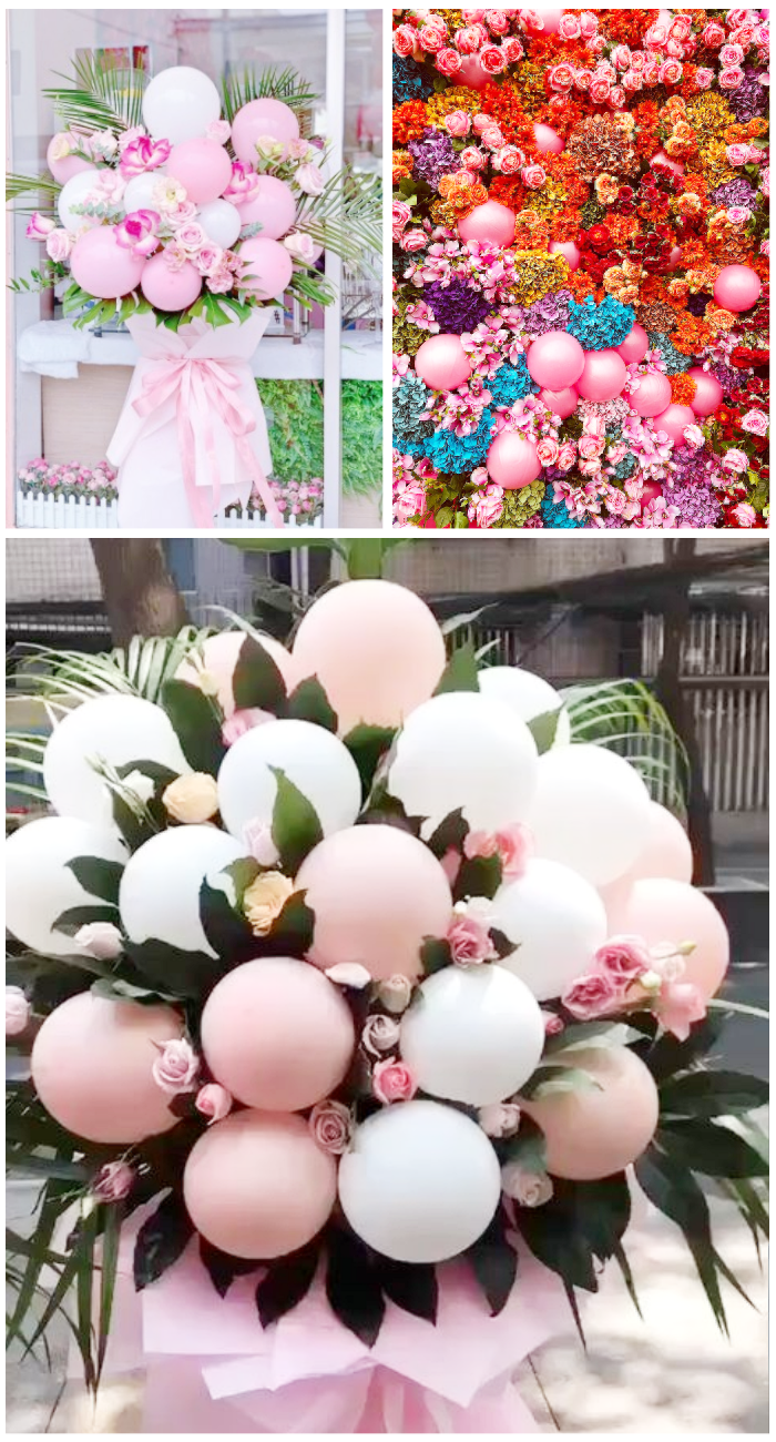 balloon and florals flower bouquet pink