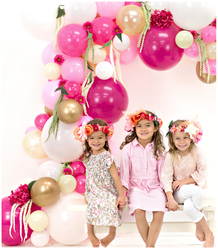 junibel balloons florals flowers garland and arch kit tropical pink backdrop