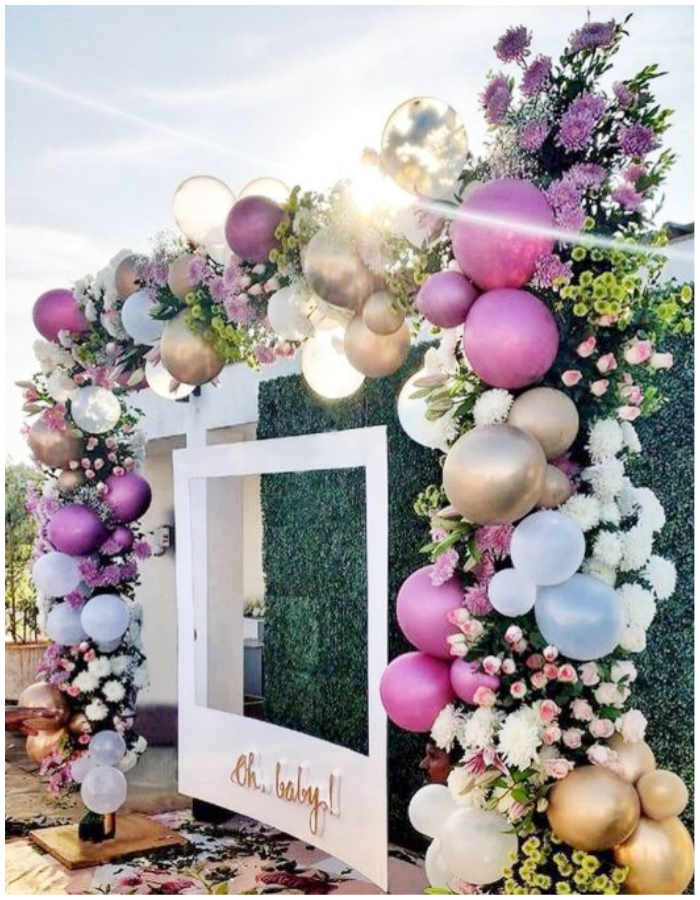 balloons and flowers floral roses garland arch roses backdrop photo op