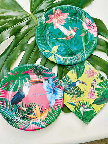 social distancing party activities with kids tropical hawaiian party plates family