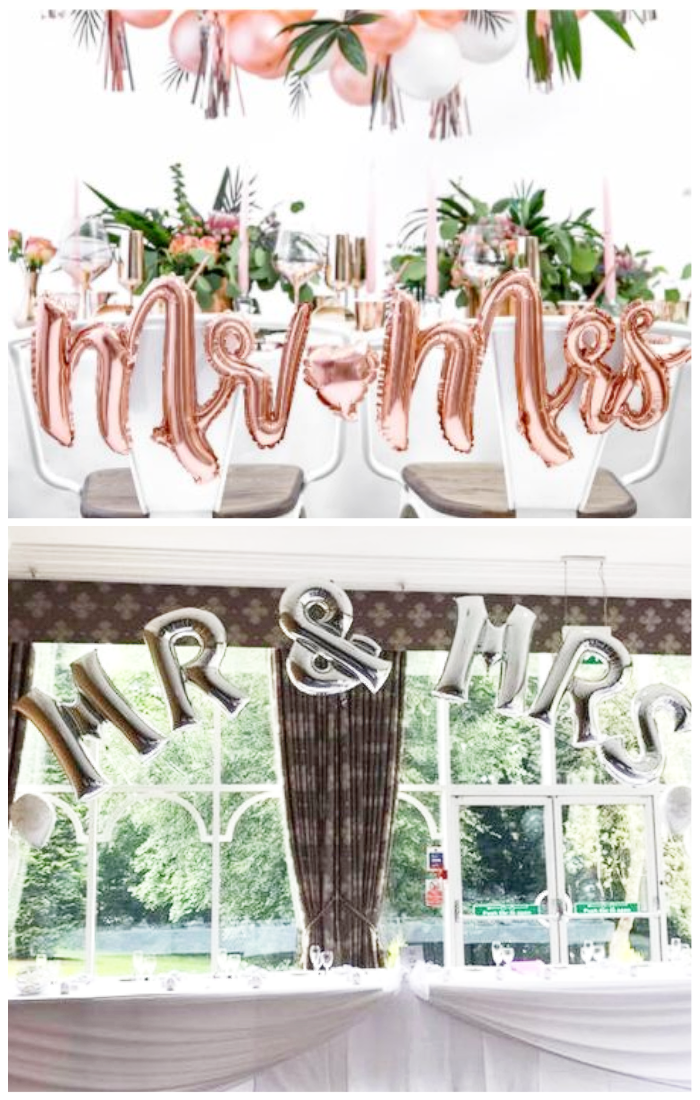 wedding decorations mr and mrs cursive writing foil balloons head table