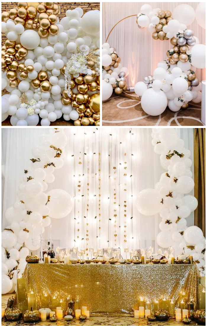wedding white gold balloons decoration backdrop
