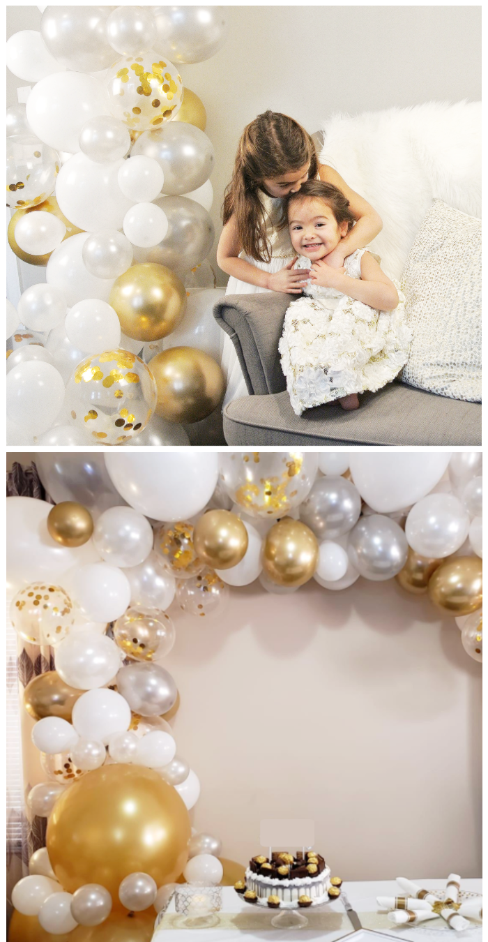 wedding decorations balloon photo backdrop arch garland frosty gold junibel