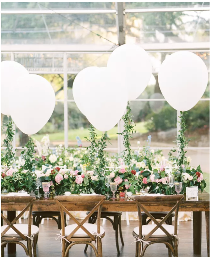 wedding decorations table balloons white