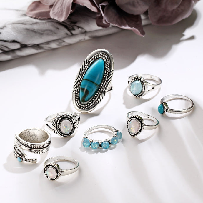 Turquoise Featured Rings: 8 piece set, , Moxie Jewellery, Moxie Jewellery - Moxie Jewellery