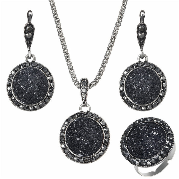 Black Gem Pendant Set, , Moxie Jewellery, Moxie Jewellery - Moxie Jewellery