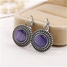 Load image into Gallery viewer, Purple Carved Vintage Earrings, , Moxie Jewellery, Moxie Jewellery - Moxie Jewellery