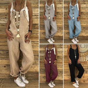 Jumpsuits 2018 New Brand Women Casual Loose Cotton Linen Solid Pockets Jumpsuit Overalls Wide Leg Cropped Pants Macacao Feminino