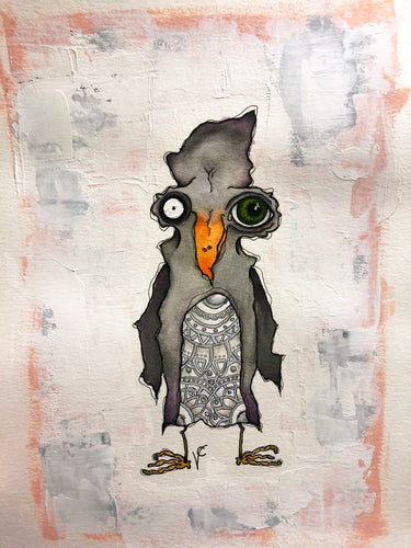 Penguin Tattoo Mixed Media Painting