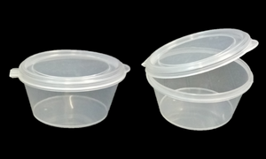 2oz Sauce Containers with Hinged Lids