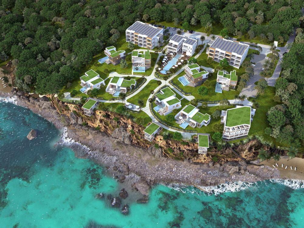 An aerial video of Tranquility Beach Dominica under construction