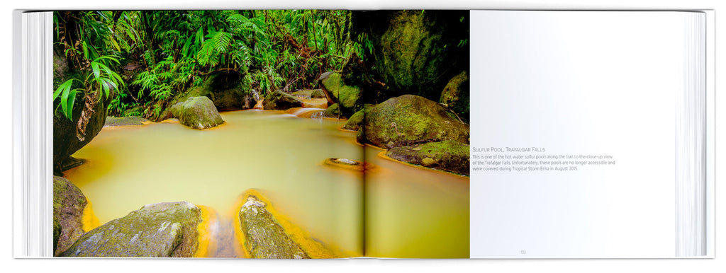 A two-page spread from Majestic and Magical showing a hot pool at Trafalgar Falls