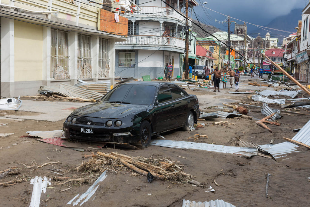 Destruction in the streets of Roseau, caused by Hurricane Maria