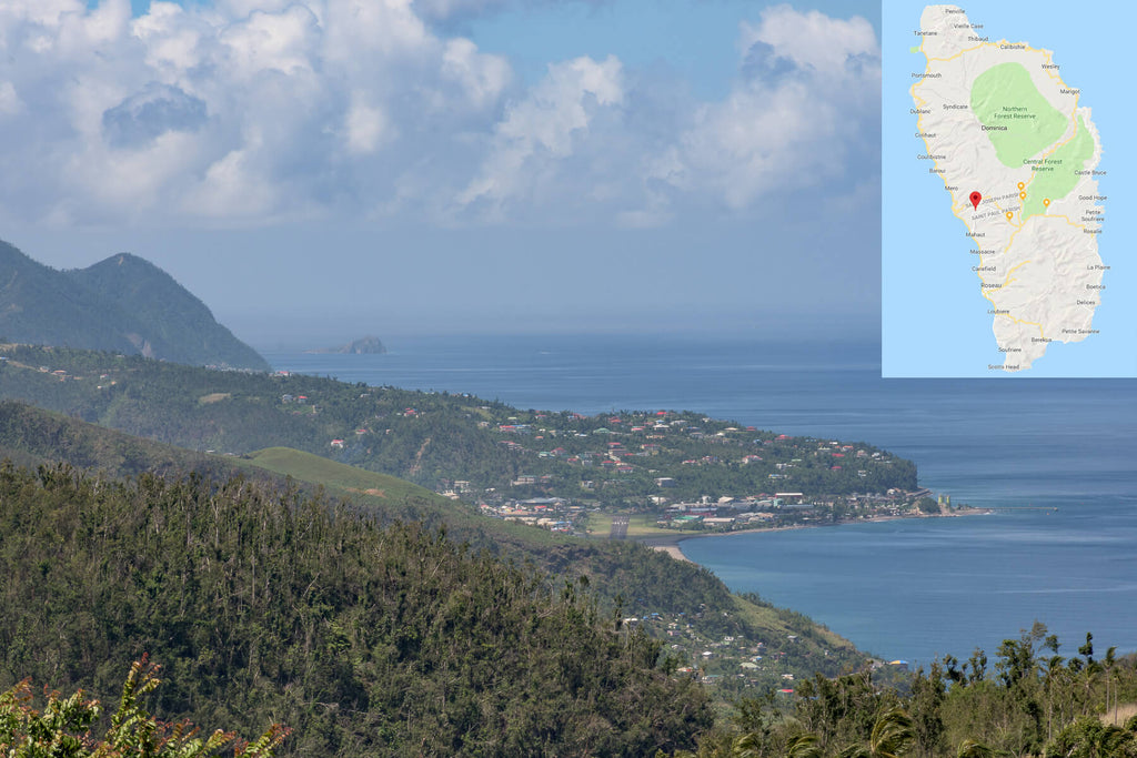 West coast shown from Warner, Dominica